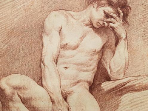 Edme Bouchardon, Homme nu assis de face, vers 1737-1738, sanguine, Stockholm, Nationalmuseum.