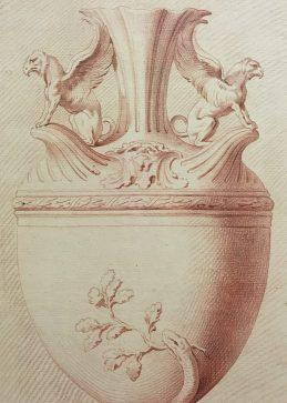 Edme Bouchardon, Vase, 1737, sanguine, Vienne, Albertina.
