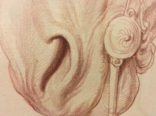Edme Bouchardon, Deux études partielles d'une tête de cheval bridée (détail), vers 1748-1752, sanguine, Paris, musée du Louvre.