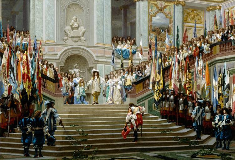 Jean-Léon Gérôme, Réception du Grand Condé par Louis XIV (Versailles, 1674), 1878, huile sur toile, H. 96,5 ; L. 139,7 cm, Paris, musée d'Orsay.