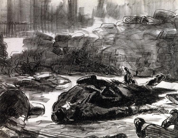 Guerre civile 1871 Édouard MANET Lithographie en deux tons sur papier épais. Musée Carnavalet — Histoire de Paris. © Musée Carnavalet / Roger-Viollet
