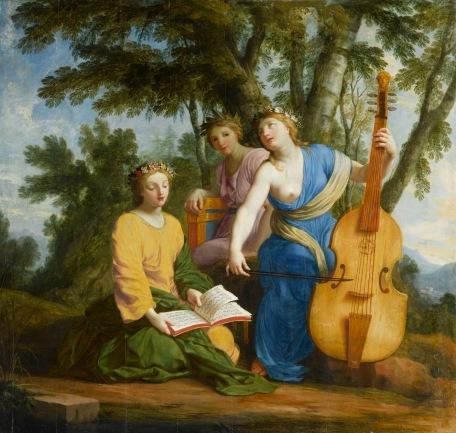 Eustache Le Sueur, Melpomene, Érato et Polymnie, huile sur toile.