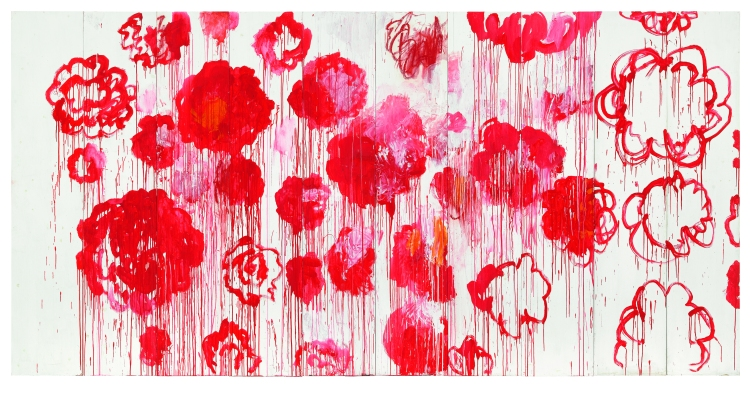 Cy Twombly, Blooming, 2001-2008 Acrylique, crayon à la cire sur 10 panneaux de bois 250 x 500 Collection particulière © Cy Twombly Foundation, courtesy Archives Fondazione Nicola Del Roscio © Photo: Studio Silvano, Gaeta