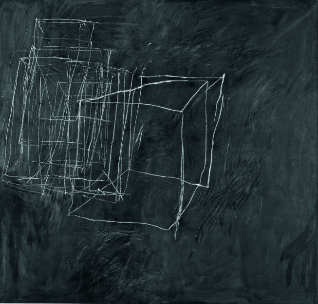 Cy Twombly, Night Watch, Peinture industrielle, crayon à la cire sur toile, 190 x 200 cm, Collection particulière, Courtesy Jeffrey Hoffeld, Fine Arts, Inc.© Cy Twombly Foundation,courtesy Cheim