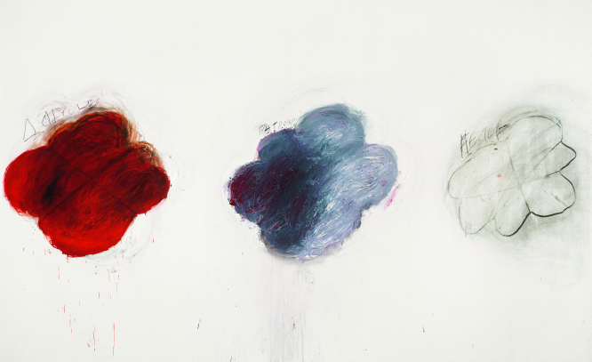 Cy Twombly, Fifty Days at Iliam Shades of Achilles, Patroclus and Hector, 1978, Partie VI : Huile, crayon à l'huile, mine de plomb sur toile, 299,7 x 491,5 cm, Philadelphia Museum of Art, Philadelphie, gift (by exchange) of Samuel S.White 3rd and Vera White, 1989-90-6, © Cy Twombly Foundation, courtesy of Philadelphia Museum of Art, Philadelphie