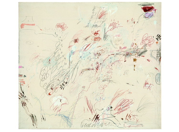 Cy Twombly, Dutch Interior, 1962, Crayon à la cire, mine de plomb,huile sur toile, 265 x 300 cm, Cy Twombly Foundation © Cy Twombly Foundation, courtesy Archives Nicola Del Roscio