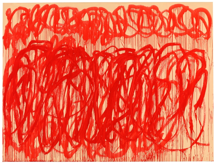 Cy Twombly, Untitled (Bacchus), 2005, Acrylique sur toile, 317,5 x 417,8 cm, Udo et Anette Brandhorst Collection © Cy Twombly Foundation © Photo: BKP, Berlin. RMN-Grand Palais / Image BStGS