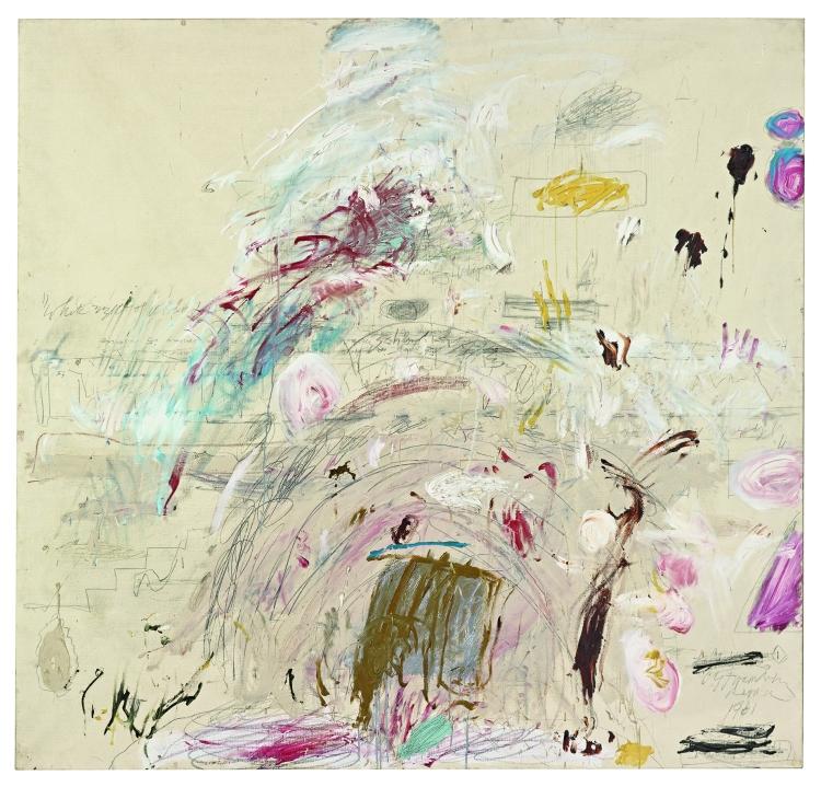Cy Twombly, School of Athens, 1961, Huile, peinture industrielle, crayon de couleur et mine de plomb sur toile, 190,3 x 200,5 cm, Collection particulière, © Cy Twombly Foundation © Photo: Robert Bayer, Bildpunkt AG, Munchenstein